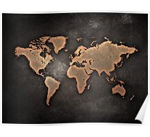 Black and Brown World Map Poster
