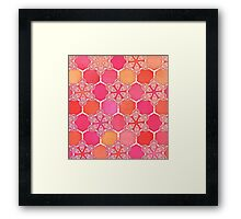 Pink Spice Honeycomb - Doodle Hexagon Pattern  Framed Print