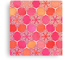 Pink Spice Honeycomb - Doodle Hexagon Pattern  Canvas Print