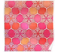 Pink Spice Honeycomb - Doodle Hexagon Pattern  Poster
