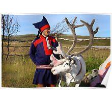 Sami & Reindeer - Nordkapp, Norway Poster