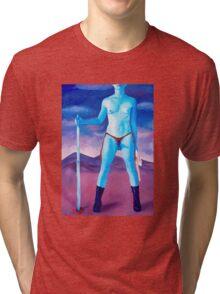 "Frightened Little Boys Rule the World, original acrylic on canvas, 60""x42"" Tri-blend T-Shirt"