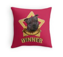 Stafforshire Bull Terrier Winner Throw Pillow