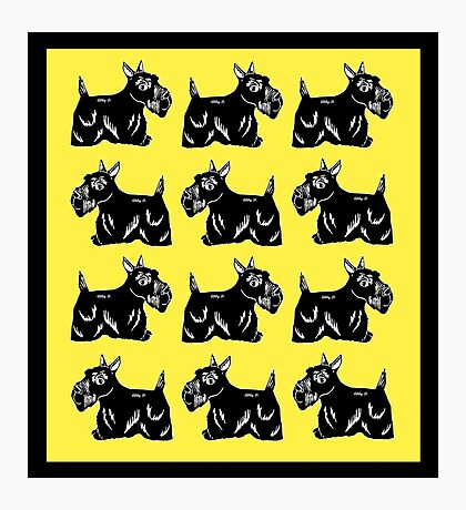 Scottie Dogs Yellow and Black Pattern Photographic Print
