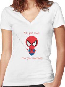 FunnyBONE Chibi Spidey Women's Fitted V-Neck T-Shirt