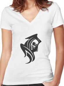Death hooded cool sunglasses Women's Fitted V-Neck T-Shirt