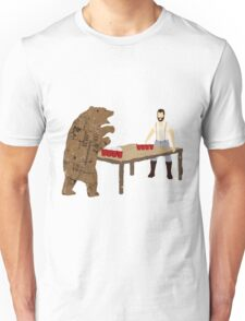 Man Beer Pong with The Bear T538  Unisex T-Shirt
