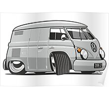 VW T1 panel van cartoon grey Poster