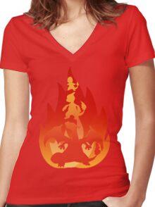 Charmander-meleon-izard Women's Fitted V-Neck T-Shirt