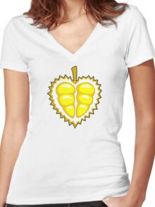 Durian Lover Women's Fitted V-Neck T-Shirt