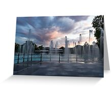 Splish-Splash - the Wading Water Jets at Dusk Greeting Card