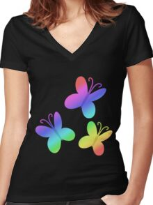 MLP - Cutie Mark Rainbow Special - Fluttershy Women's Fitted V-Neck T-Shirt