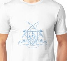 Fishing Rod Reel Hooking Blue Marlin Beer Bottle Coat of Arms Drawing Unisex T-Shirt