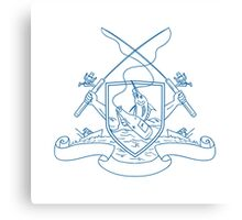 Fishing Rod Reel Hooking Blue Marlin Beer Bottle Coat of Arms Drawing Canvas Print
