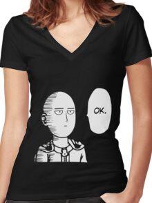 One Punch Man Okay  Saitama Logo Cosplay Japan Anime T Shirt Women's Fitted V-Neck T-Shirt