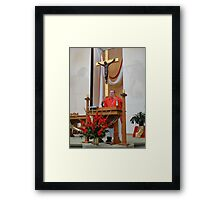 Mary and Jesus Watch Over the Priest Framed Print