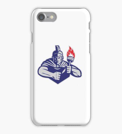 Greek Warrior Holding Flaming Torch Retro iPhone Case/Skin
