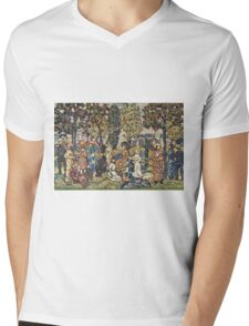 Maurice Brazil Prendergast - Autumn Festival. People portrait: party, woman and man, people, family, female and male, peasants, crowd, romance, women and men, city, home society Mens V-Neck T-Shirt
