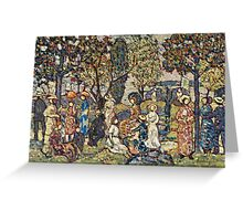 Maurice Brazil Prendergast - Autumn Festival. People portrait: party, woman and man, people, family, female and male, peasants, crowd, romance, women and men, city, home society Greeting Card