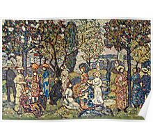 Maurice Brazil Prendergast - Autumn Festival. People portrait: party, woman and man, people, family, female and male, peasants, crowd, romance, women and men, city, home society Poster