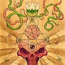 Red skull with lotus and vines by ARTmuffin