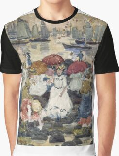 Maurice Brazil Prendergast - Beechmont. Beach landscape: sea view, yachts, holiday, sailing boat, waves and beach, marine naval navy, family seascape, sun and clouds, nautical panorama, coastal travel Graphic T-Shirt