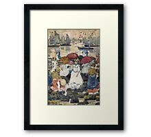 Maurice Brazil Prendergast - Beechmont. Beach landscape: sea view, yachts, holiday, sailing boat, waves and beach, marine naval navy, family seascape, sun and clouds, nautical panorama, coastal travel Framed Print