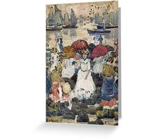 Maurice Brazil Prendergast - Beechmont. Beach landscape: sea view, yachts, holiday, sailing boat, waves and beach, marine naval navy, family seascape, sun and clouds, nautical panorama, coastal travel Greeting Card