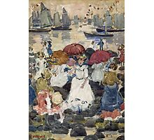 Maurice Brazil Prendergast - Beechmont. Beach landscape: sea view, yachts, holiday, sailing boat, waves and beach, marine naval navy, family seascape, sun and clouds, nautical panorama, coastal travel Photographic Print