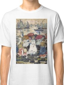 Maurice Brazil Prendergast - Beechmont. Beach landscape: sea view, yachts, holiday, sailing boat, waves and beach, marine naval navy, family seascape, sun and clouds, nautical panorama, coastal travel Classic T-Shirt