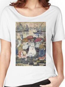 Maurice Brazil Prendergast - Beechmont. Beach landscape: sea view, yachts, holiday, sailing boat, waves and beach, marine naval navy, family seascape, sun and clouds, nautical panorama, coastal travel Women's Relaxed Fit T-Shirt