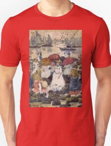 Maurice Brazil Prendergast - Beechmont. Beach landscape: sea view, yachts, holiday, sailing boat, waves and beach, marine naval navy, family seascape, sun and clouds, nautical panorama, coastal travel Unisex T-Shirt