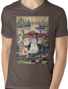Maurice Brazil Prendergast - Beechmont. Beach landscape: sea view, yachts, holiday, sailing boat, waves and beach, marine naval navy, family seascape, sun and clouds, nautical panorama, coastal travel Mens V-Neck T-Shirt