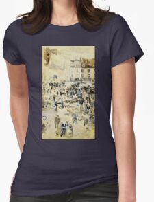 Maurice Brazil Prendergast - European Street Scene. Street landscape: city view, streets, building, houses, prospects, cityscape, architecture, roads, travel landmarks, panorama garden, buildings Womens Fitted T-Shirt