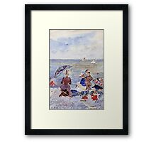 Maurice Brazil Prendergast - Figures On The Beach. Beach landscape: sea view, yachts, holiday, sailing boat, waves and beach, marine, family seascape, sun and clouds, nautical panorama, coastal travel Framed Print