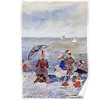 Maurice Brazil Prendergast - Figures On The Beach. Beach landscape: sea view, yachts, holiday, sailing boat, waves and beach, marine, family seascape, sun and clouds, nautical panorama, coastal travel Poster