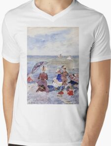 Maurice Brazil Prendergast - Figures On The Beach. Beach landscape: sea view, yachts, holiday, sailing boat, waves and beach, marine, family seascape, sun and clouds, nautical panorama, coastal travel Mens V-Neck T-Shirt