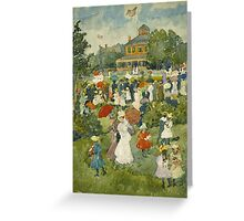 Maurice Brazil Prendergast - Franklin Park, Boston. People portrait: party, woman and man, people, family, female and male, peasants, crowd, romance, women and men, city,  Park Greeting Card