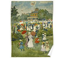 Maurice Brazil Prendergast - Franklin Park, Boston. People portrait: party, woman and man, people, family, female and male, peasants, crowd, romance, women and men, city,  Park Poster