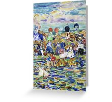 Maurice Brazil Prendergast - Idlers On The Beach. Beach landscape: sea view, yachts, holiday, sailing boat, waves and beach, marine, family seascape, sun and clouds, nautical panorama, coastal travel Greeting Card