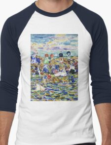 Maurice Brazil Prendergast - Idlers On The Beach. Beach landscape: sea view, yachts, holiday, sailing boat, waves and beach, marine, family seascape, sun and clouds, nautical panorama, coastal travel Men's Baseball ¾ T-Shirt