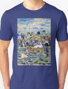 Maurice Brazil Prendergast - Idlers On The Beach. Beach landscape: sea view, yachts, holiday, sailing boat, waves and beach, marine, family seascape, sun and clouds, nautical panorama, coastal travel Unisex T-Shirt