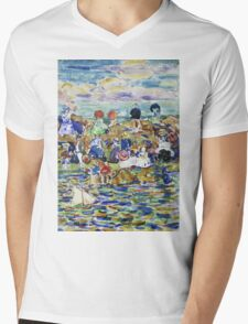 Maurice Brazil Prendergast - Idlers On The Beach. Beach landscape: sea view, yachts, holiday, sailing boat, waves and beach, marine, family seascape, sun and clouds, nautical panorama, coastal travel Mens V-Neck T-Shirt