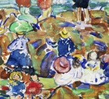 Maurice Brazil Prendergast - Idlers On The Beach. Beach landscape: sea view, yachts, holiday, sailing boat, waves and beach, marine, family seascape, sun and clouds, nautical panorama, coastal travel Sticker
