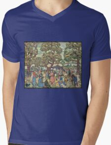Maurice Brazil Prendergast - Landscape With Figures No. 2. People portrait: party, woman and man, people, family, female and male, peasants, crowd, romance, women and men, city, home society Mens V-Neck T-Shirt