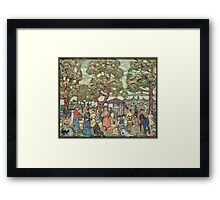 Maurice Brazil Prendergast - Landscape With Figures No. 2. People portrait: party, woman and man, people, family, female and male, peasants, crowd, romance, women and men, city, home society Framed Print