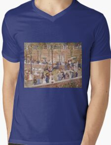 Maurice Brazil Prendergast - Monte Pincio, Rome. Street landscape: city view, streets, building, houses, prospects, cityscape, architecture, roads, travel landmarks, panorama garden, buildings Mens V-Neck T-Shirt