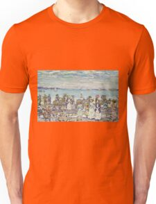 Maurice Brazil Prendergast - Opal Sea. Beach landscape: sea view, yachts, holiday, sailing boat, coast seaside with people, waves and beach, marine, sun and clouds, nautical panorama, coastal travel Unisex T-Shirt