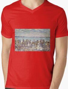 Maurice Brazil Prendergast - Opal Sea. Beach landscape: sea view, yachts, holiday, sailing boat, coast seaside with people, waves and beach, marine, sun and clouds, nautical panorama, coastal travel Mens V-Neck T-Shirt