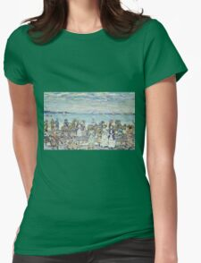 Maurice Brazil Prendergast - Opal Sea. Beach landscape: sea view, yachts, holiday, sailing boat, coast seaside with people, waves and beach, marine, sun and clouds, nautical panorama, coastal travel Womens Fitted T-Shirt
